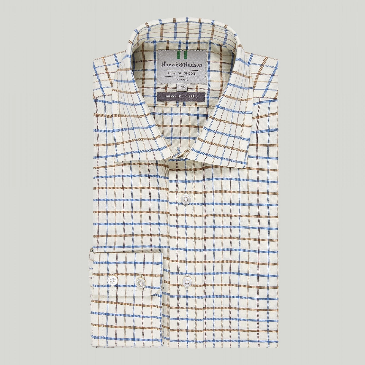 BEIGE WITH RED AND BLUE CHECK BUTTON CUFF COUNTRY SHIRT