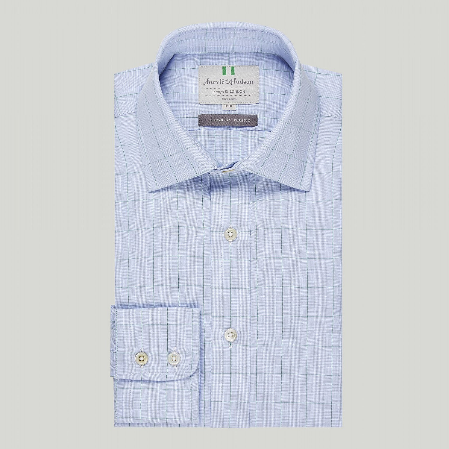 BLUE WITH GREEN PRINCE OF WALES CHECK BUTTON CUFF CLASSIC SHIRT