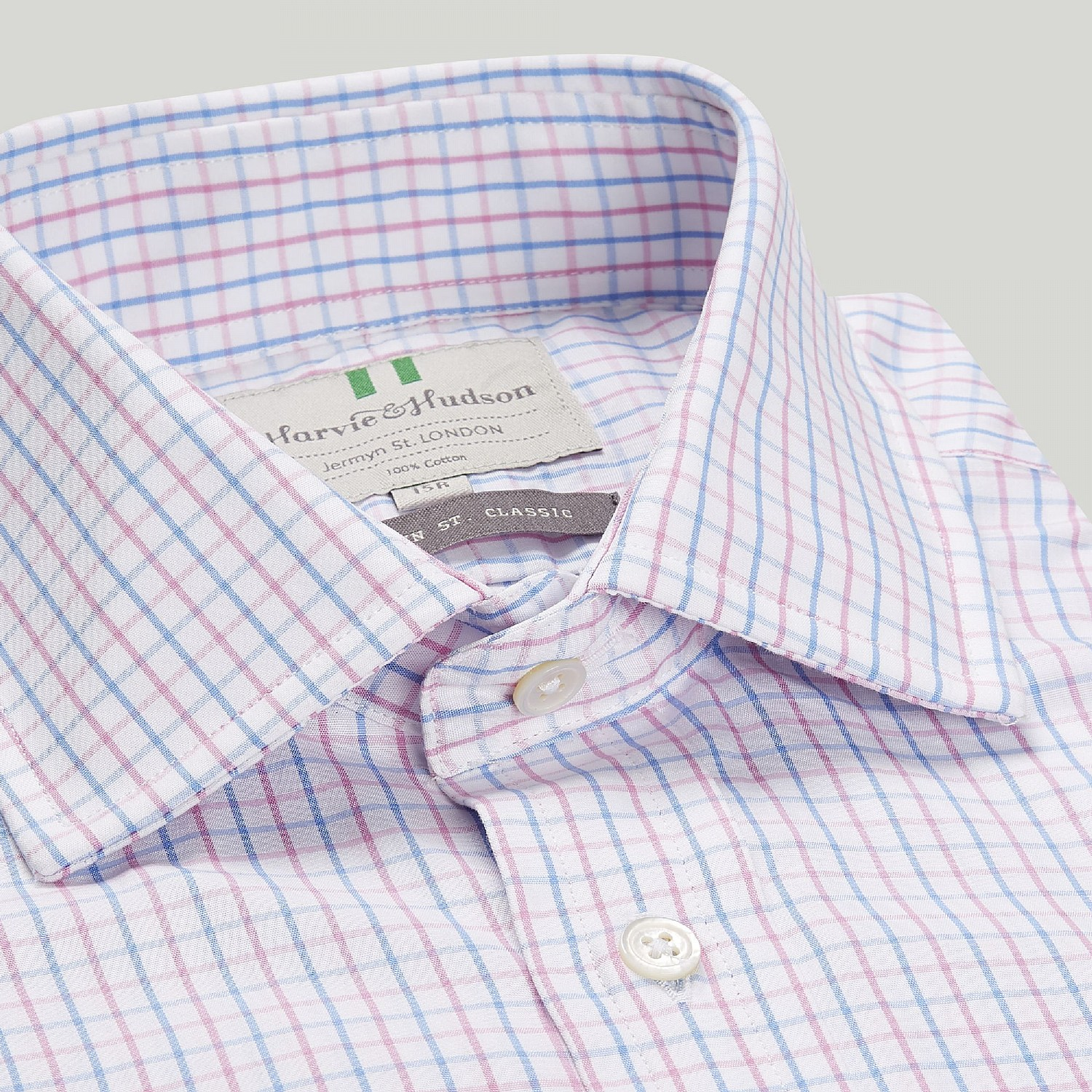 BLUE AND PINK CHECK BUTTON CUFF CLASSIC SHIRT
