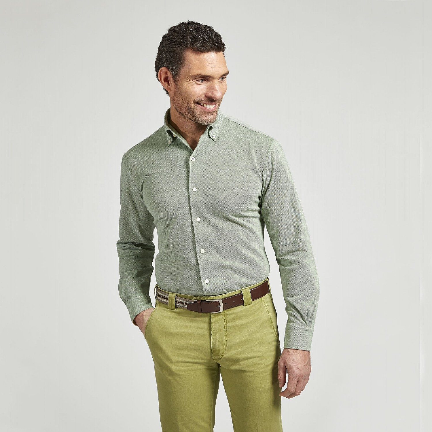 GREEN COTTON CASUAL SHIRT