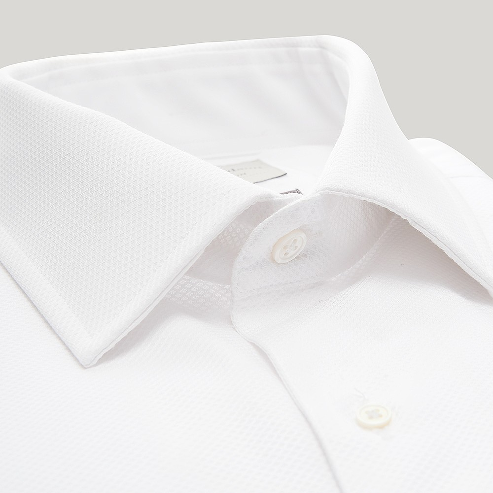 WHITE MARCELLA DOUBLE CUFF DRESS SHIRT