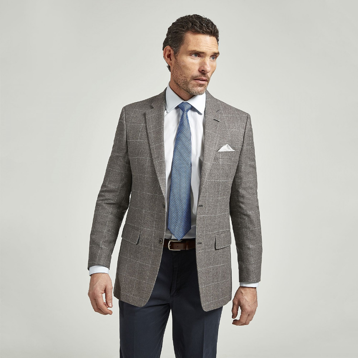 GREY CHECK WOOL AND COTTON JACKET