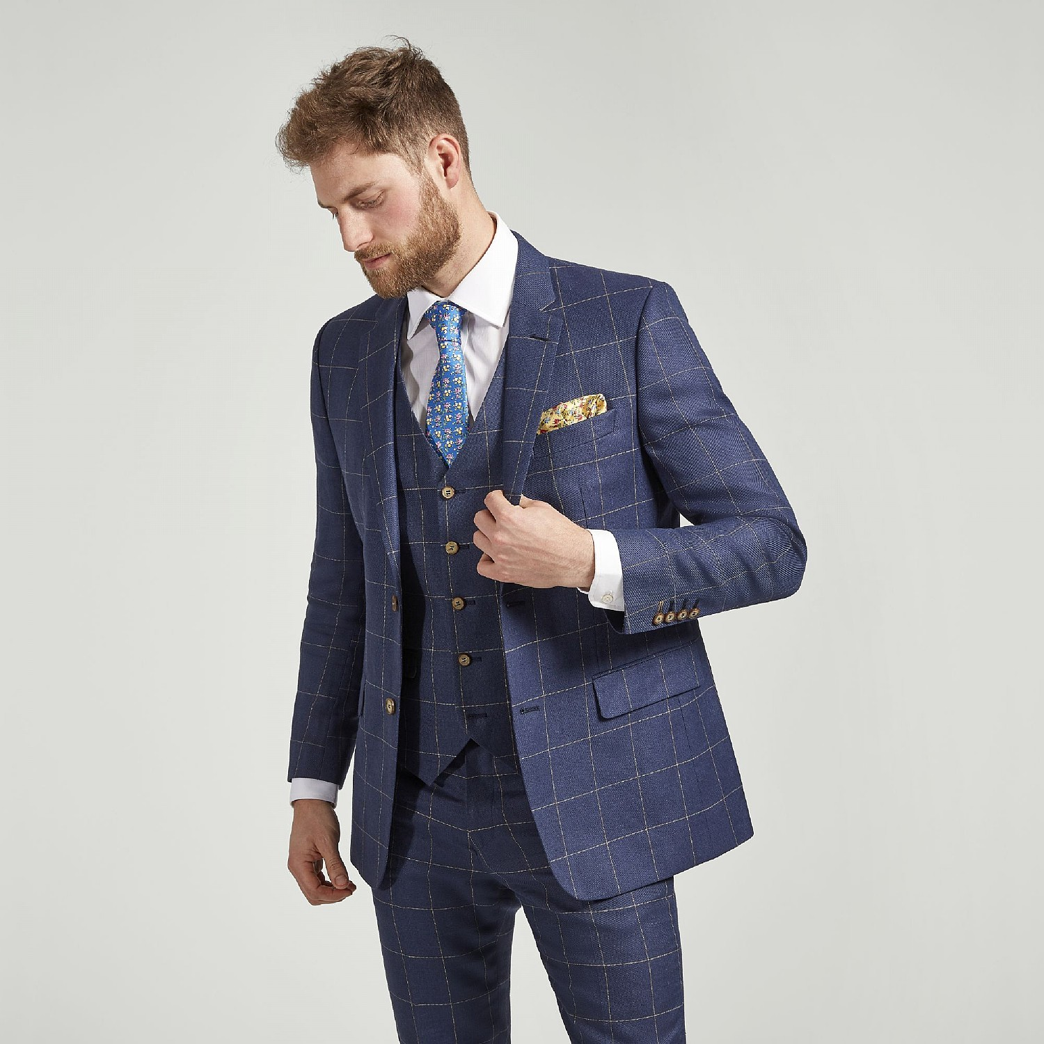 NAVY CHECK LINEN AND WOOL JACKET