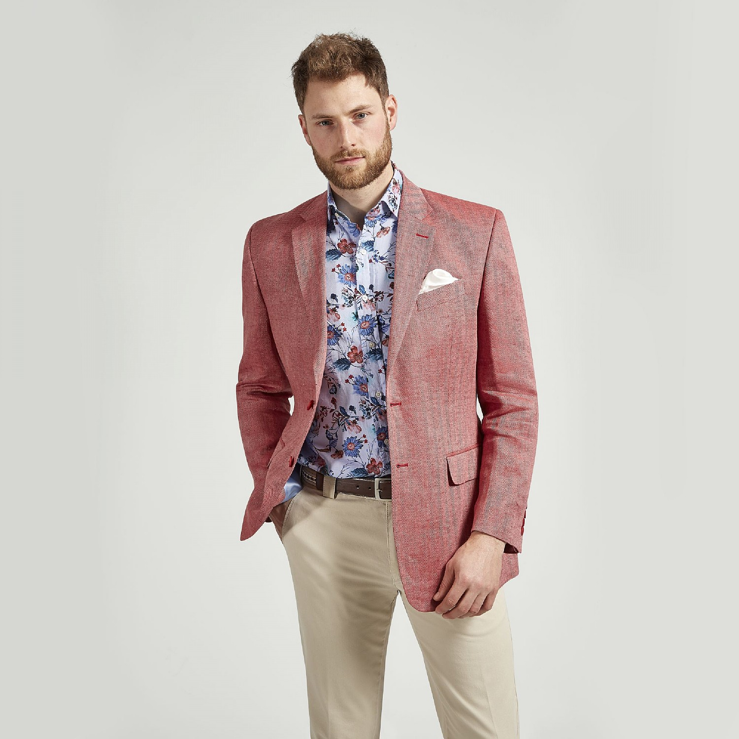 RED HERRINGBONE LINEN JACKET