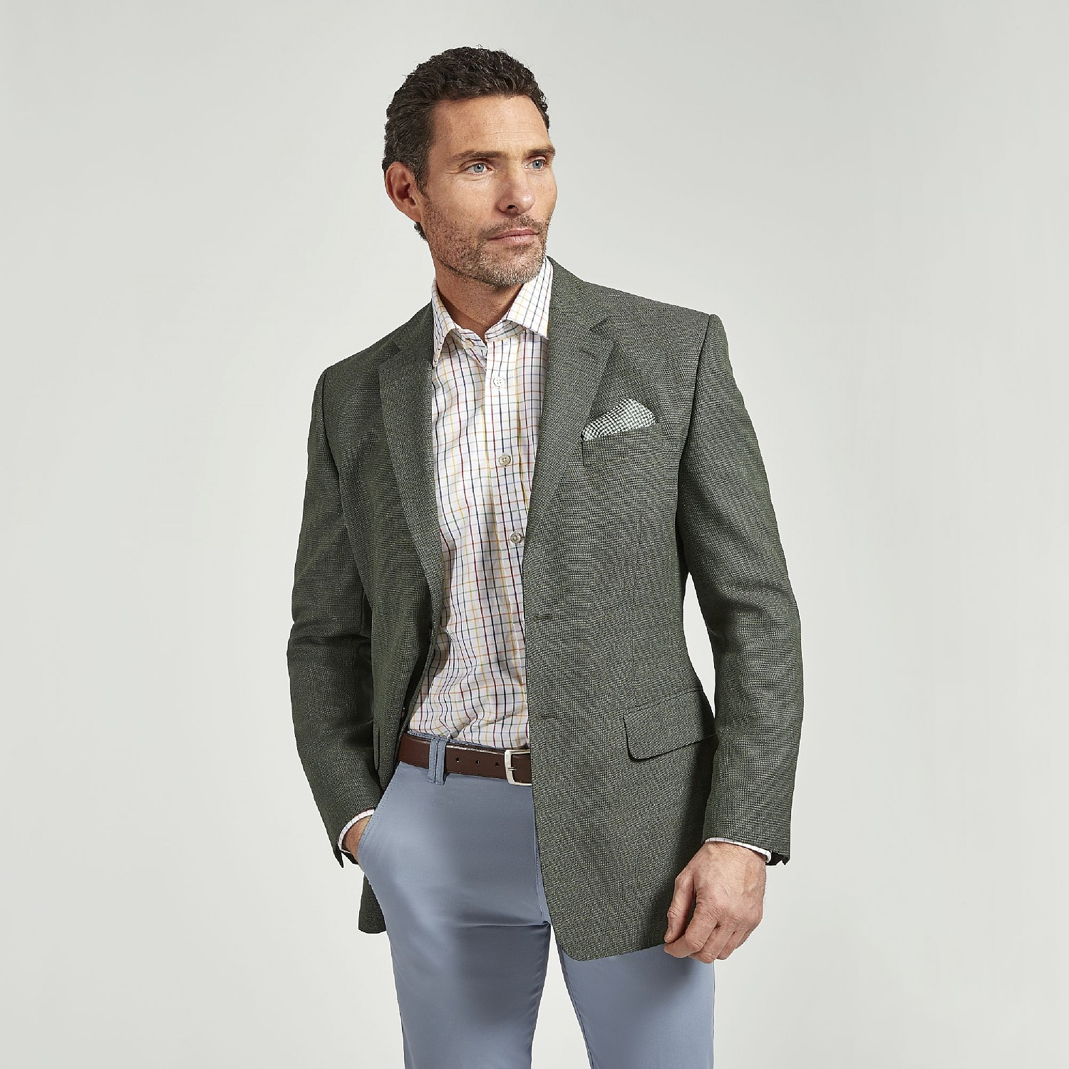 GREEN TEXTURED WOOL JACKET