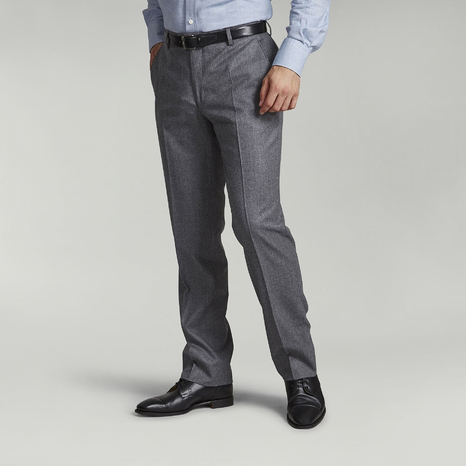 LIGHT GREY FLANNEL SUPER 120S WOOL TROUSERS