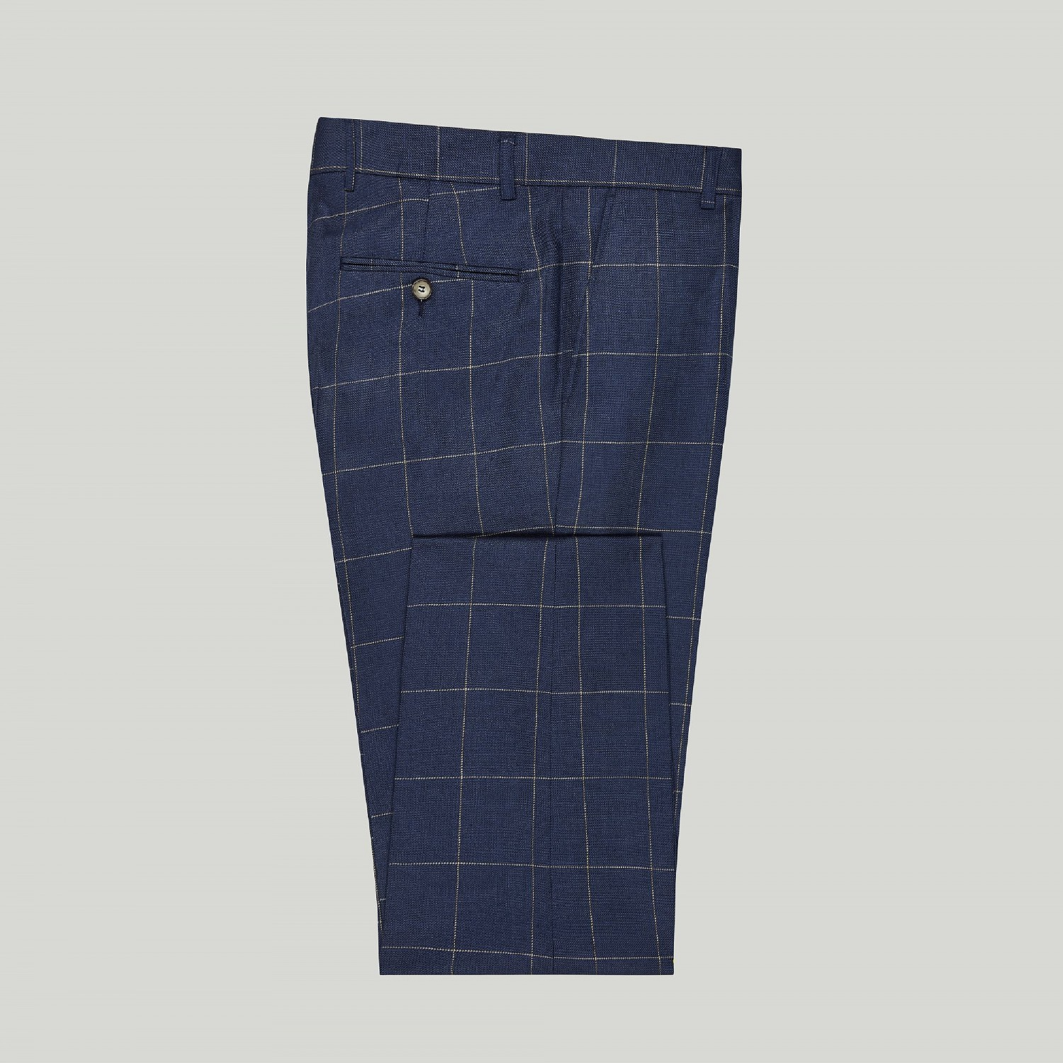 NAVY CHECK LINEN AND WOOL TROUSER