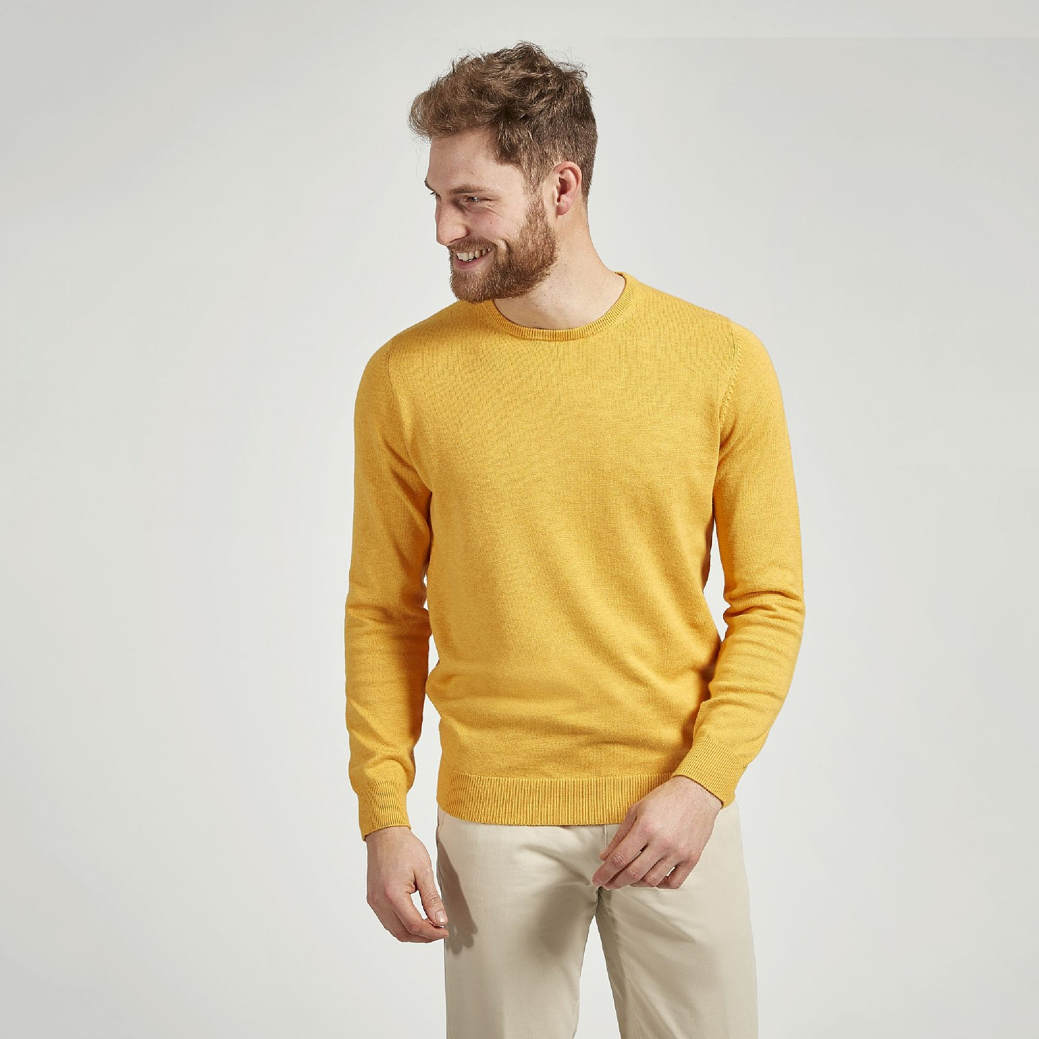 YELLOW COTTON CASHMERE CREW NECK JUMPER
