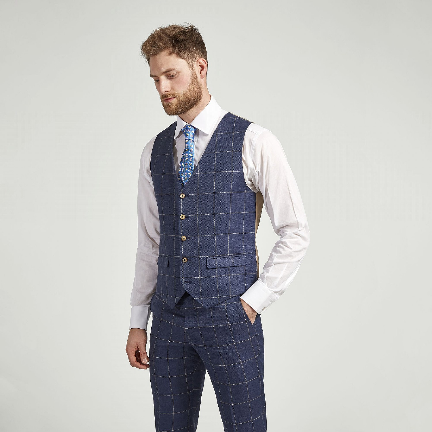 NAVY CHECK LINEN AND WOOL WAISTCOAT