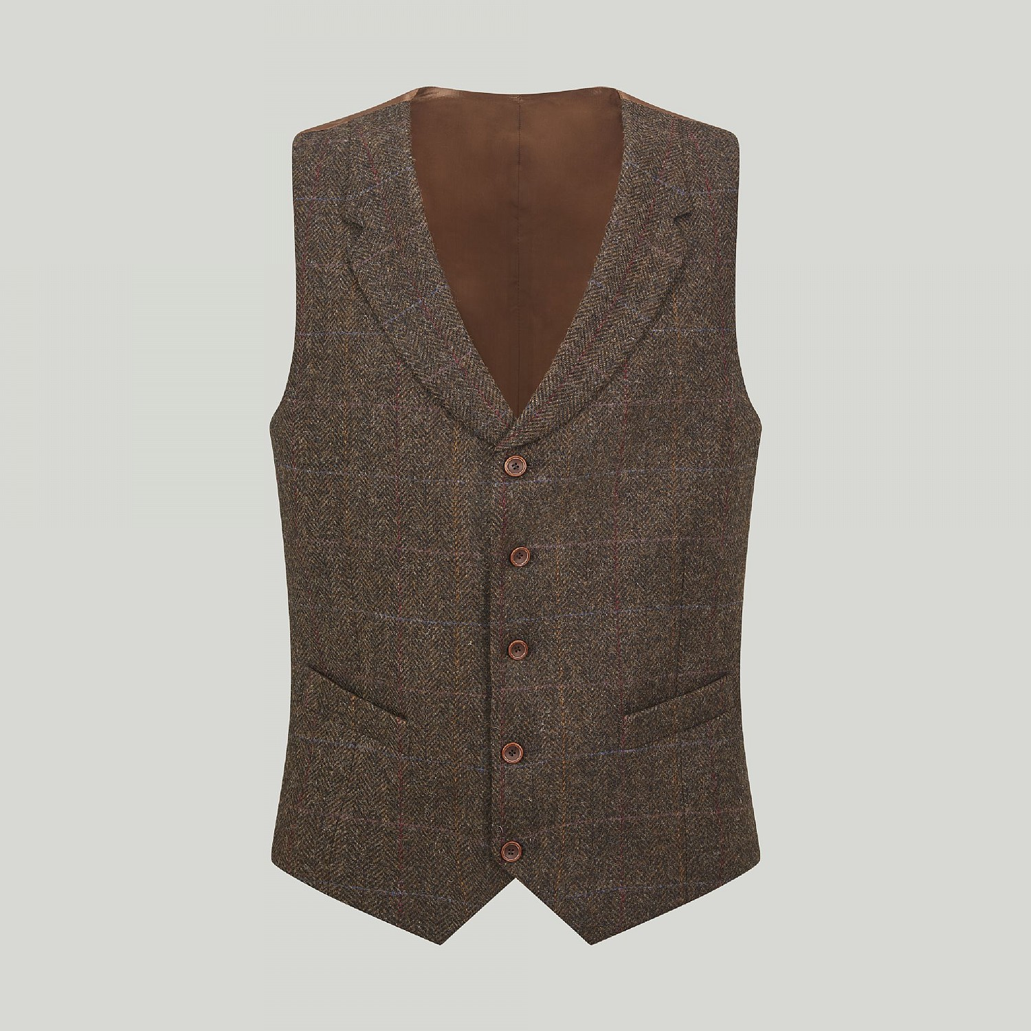 Brown and Gold Check Waistcoat