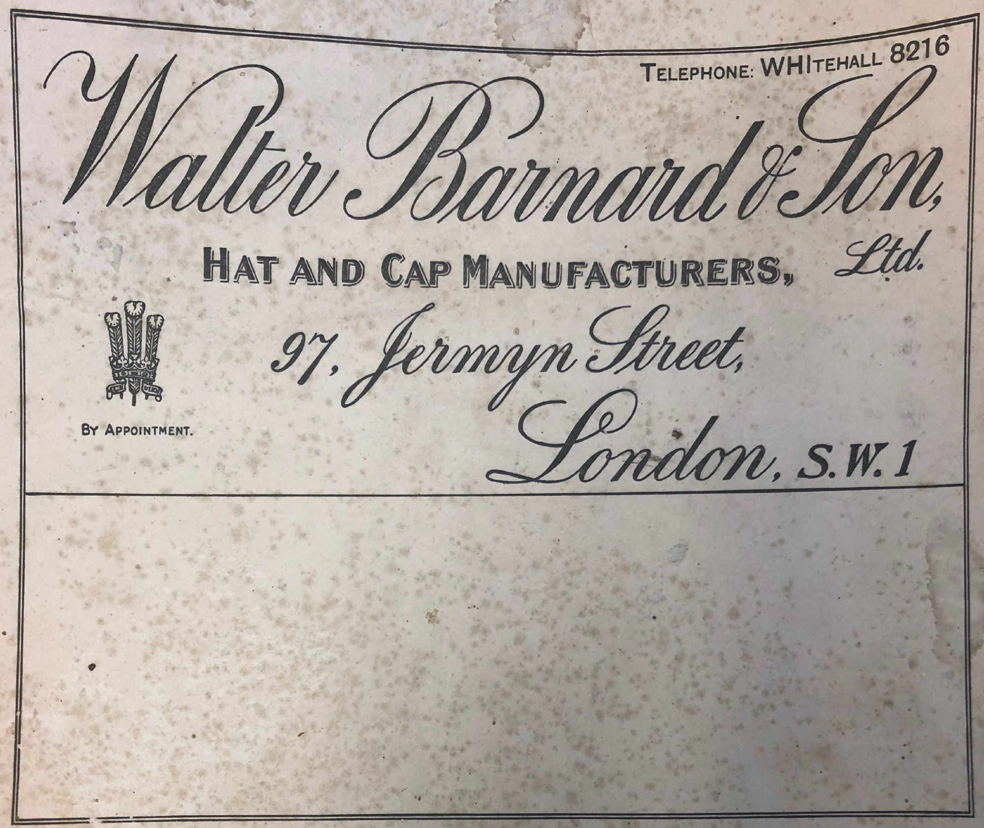 Walter Barnard and Son Hat Box