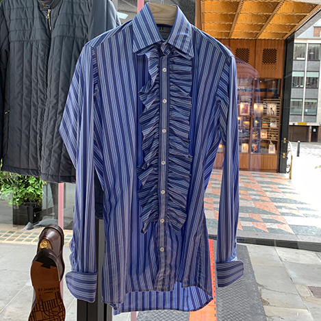 Blue and Sky Stripe Shirt with Frills