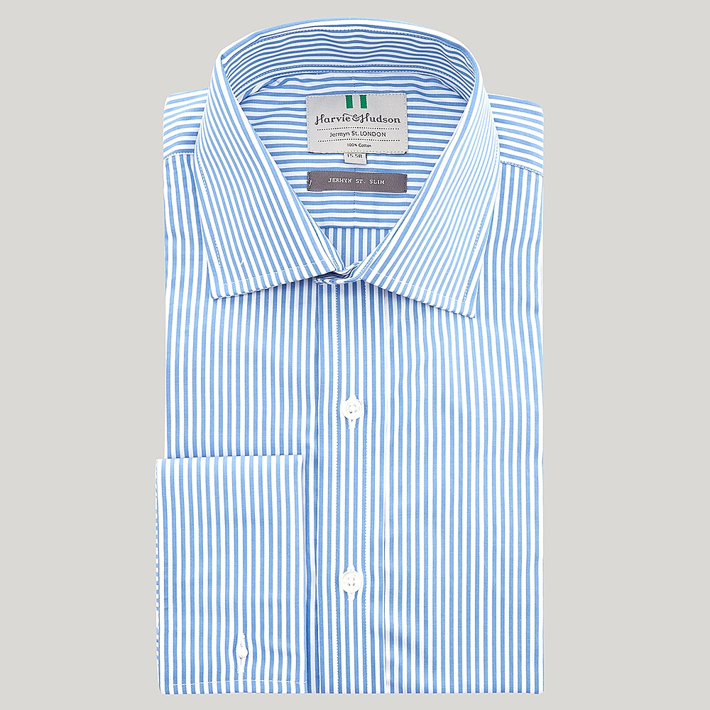 6704b7f37d Blue Bengal Stripe Poplin Slim Fit Shirt