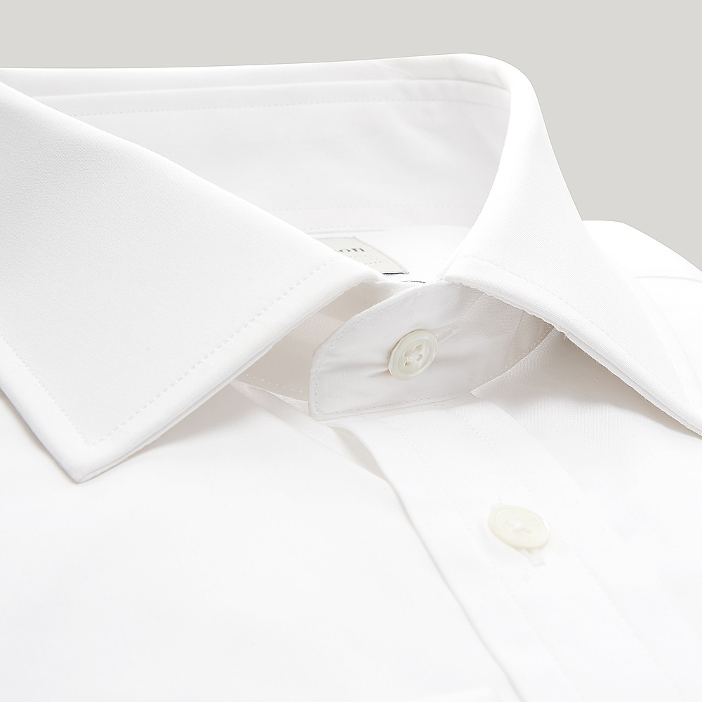 3e667655e2c2 White Plain Poplin Double Cuff Shirt