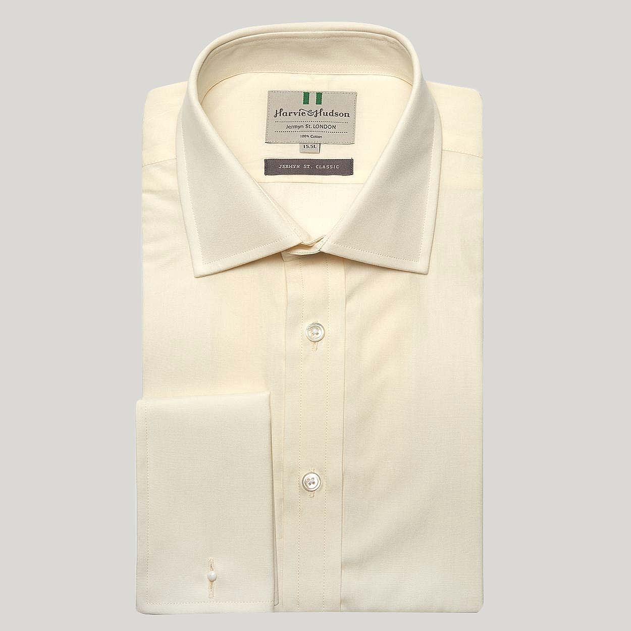 7510dee719d2 Cream Plain Poplin Double cuff Shirt