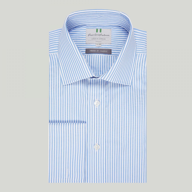e35bb65e43 Blue Bengal Stripe Poplin Double Cuff Shirt