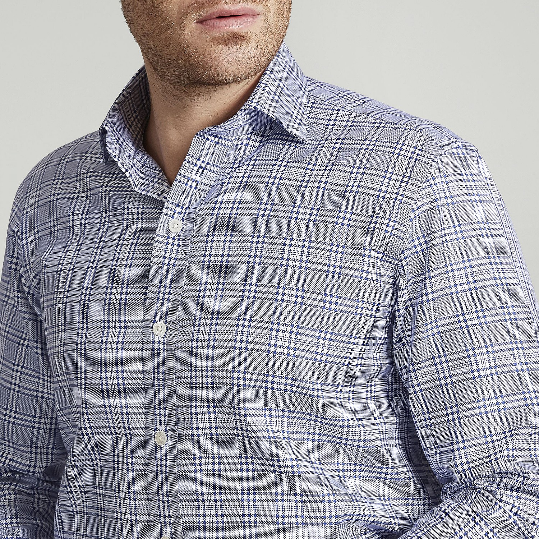 38a2c3de8 Mens Contemporary Navy Prince of Wales Oxford Cotton Shirt