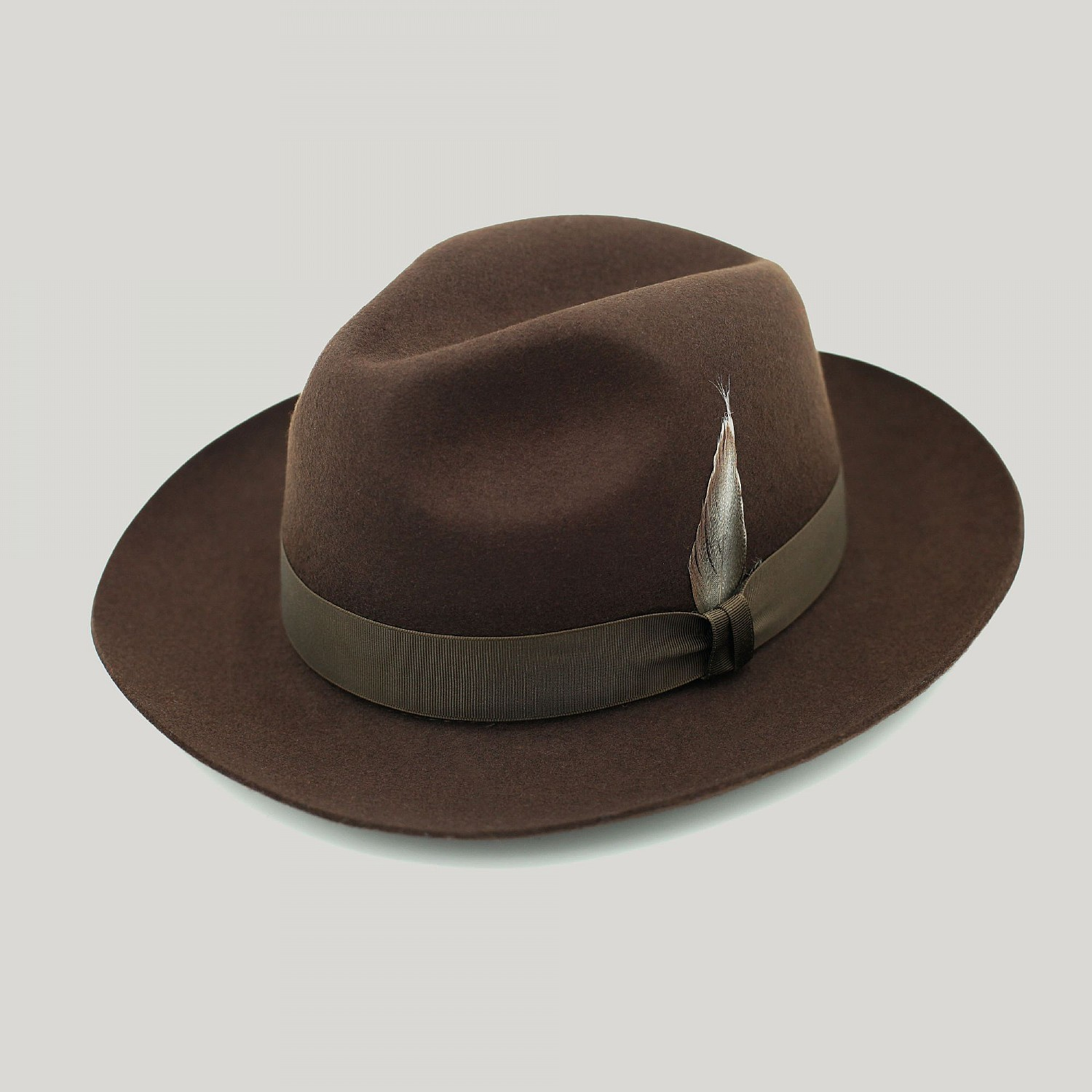 Brown Fedora Classic Wool Felt Hat - Harvie and Hudson 9aad78b60ca