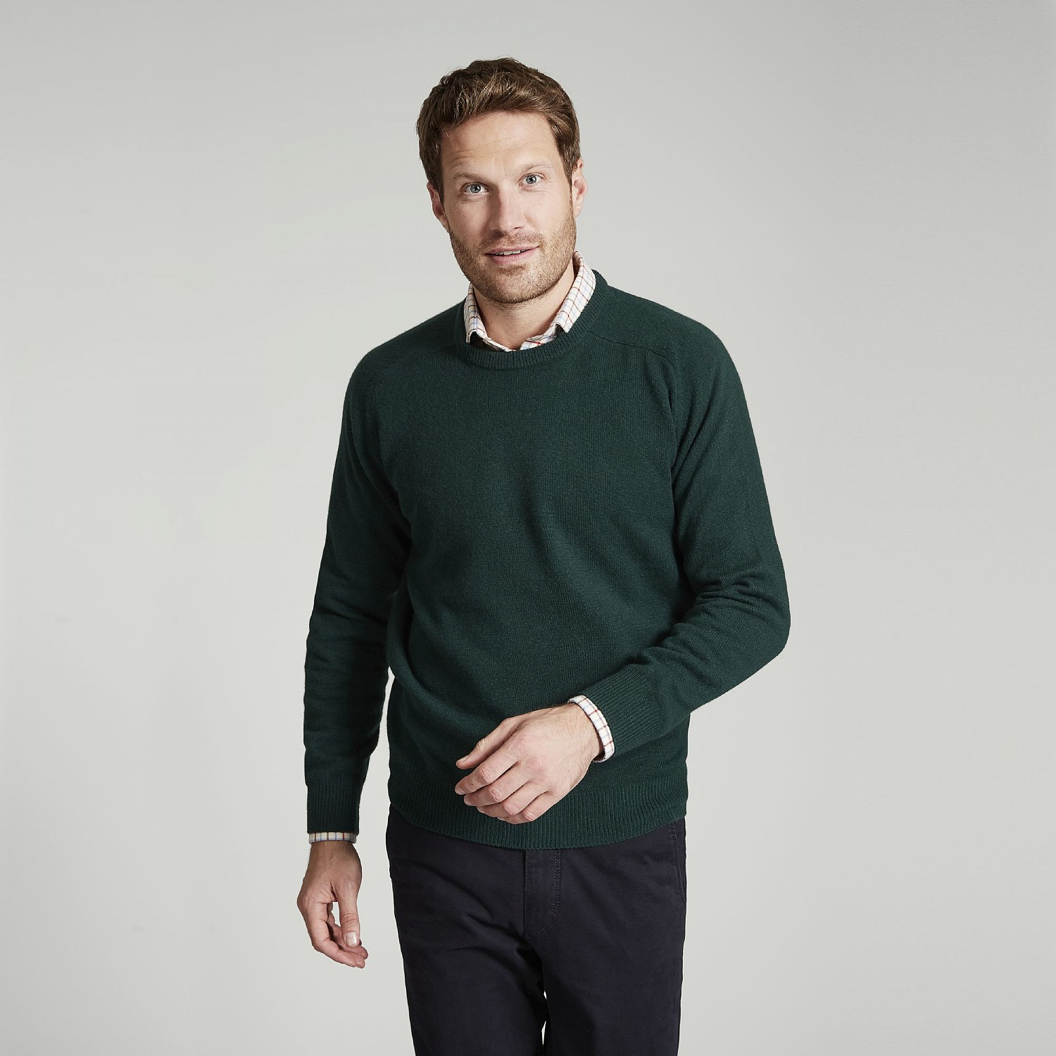 4b115b2c9c8 Tartan Green Lambswool Crew Neck Sweater