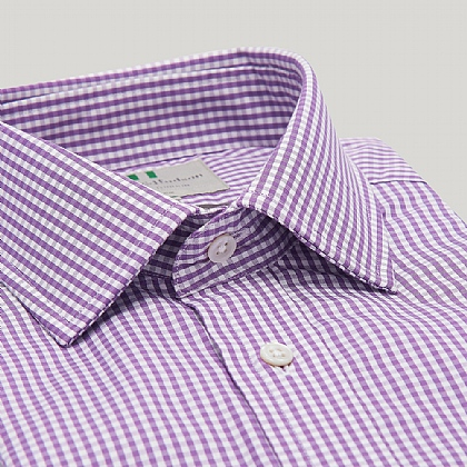 Purple Gingham Double Cuff Classic Shirt