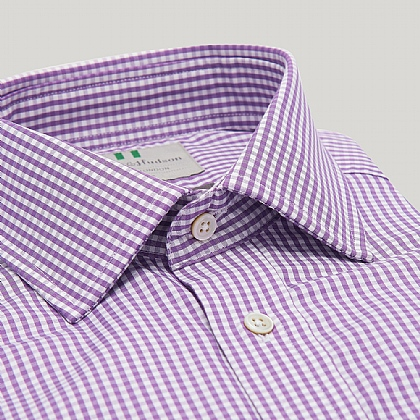 Purple Gingham Button Cuff Classic Shirt
