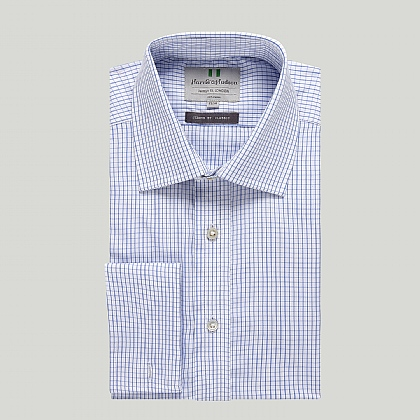 Blue Graph Check Double Cuff Classic Shirt