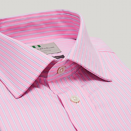 Pink and Blue Stripe Double Cuff Classic Shirt