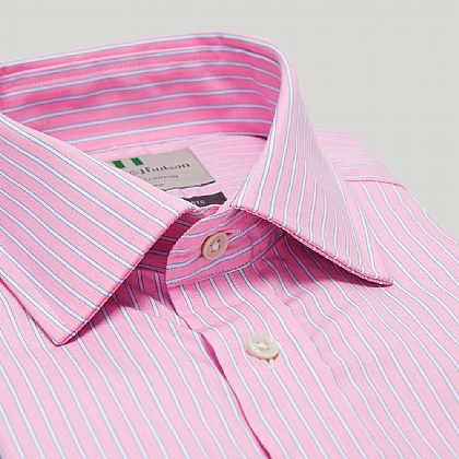 Pink and Blue Stripe Button Cuff Classic Shirt