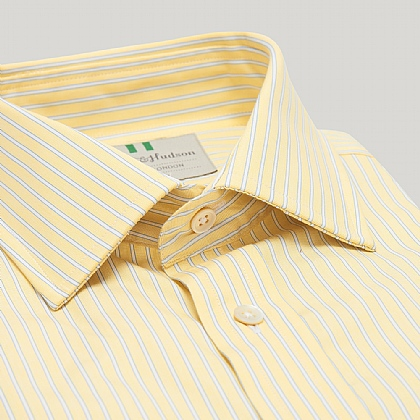 Yellow and Blue Stripe Double Cuff Classic Shirt