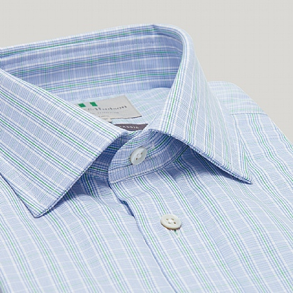 Blue and Green Prince of Wales Button Cuff Classic Shirt