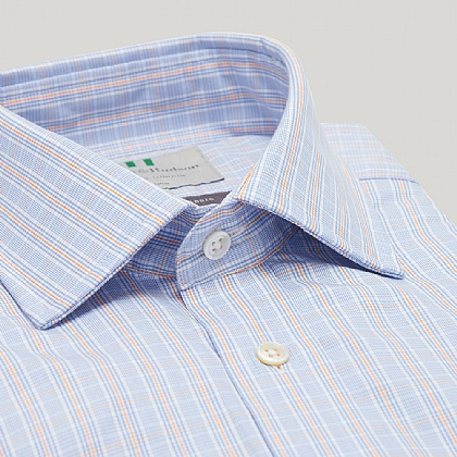 Blue and Orange Prince of Wales Button Cuff Classic Shirt