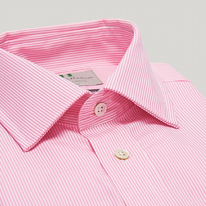 Pink Pencil Stripe Double Cuff Slim Shirt