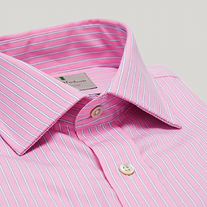 Pink and Blue Stripe Slim Double Cuff Shirt