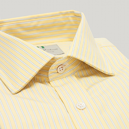Yellow and Blue Stripe Slim Double Cuff Shirt