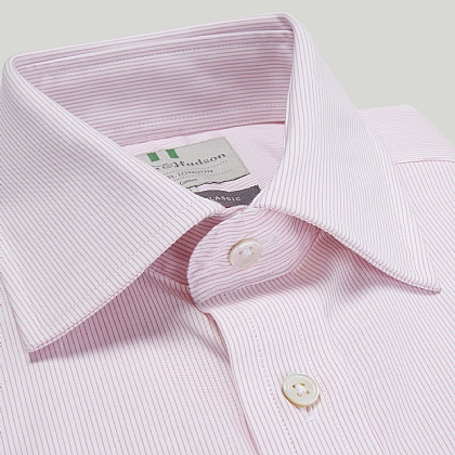 Pink Fine Stripe Double Cuff Classic Fit Shirt