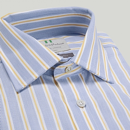 Blue and Yellow Stripe Double Cuff Classic Fit Shirt