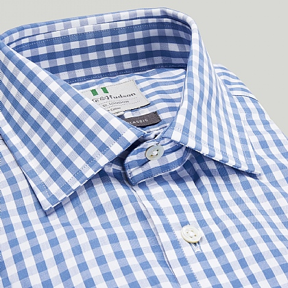Blue Gingham Check Double Cuff Classic Fit Shirt