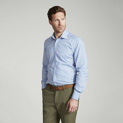 Blue Gingham Check Button Cuff Classic Fit Shirt