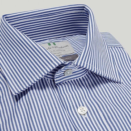 Blue and White Narrow Stripe Double Cuff Classic Fit Shirt