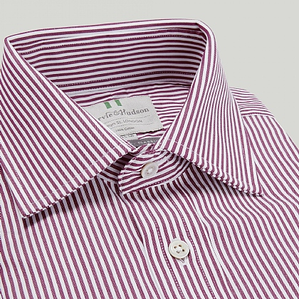 Burgundy and White Narrow Stripe Double Cuff Classic Fit Shirt