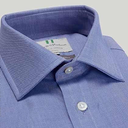 Blue Plain Twill Double Cuff Classic Fit Shirt