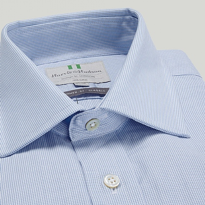 Sky Fine Gingham Check Button Cuff Classic Fit Shirt