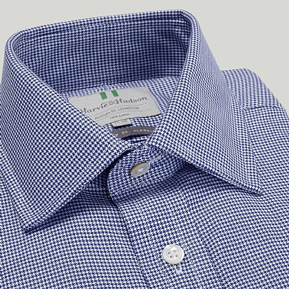 Navy Houndstooth Check Double Cuff Classic Fit Shirt