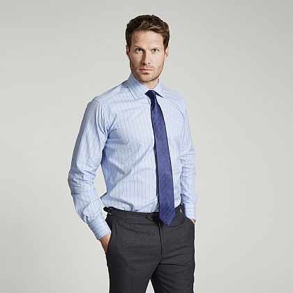 Blue and Navy Hairline Stripe Double Cuff Classic Fit Shirt