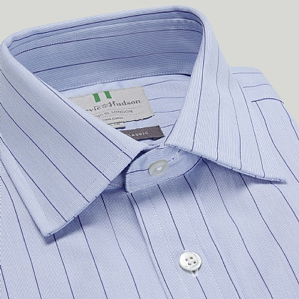 Blue and Navy Hairline Stripe Button Cuff Classic Fit Shirt