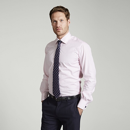 Pink Fine Stripe Double Cuff Slim Fit Shirt