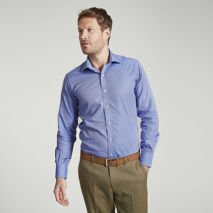 Blue Plain Twill Button Cuff Slim Fit Shirt