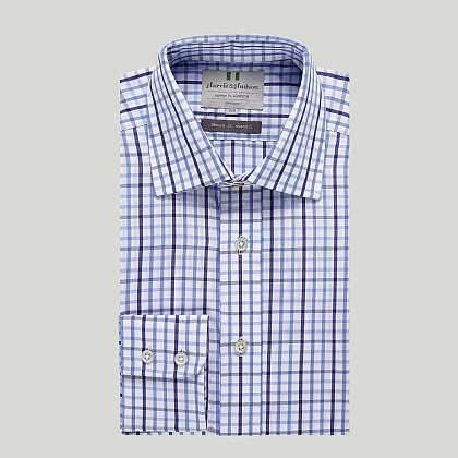 Blue and Navy Check Button Cuff Classic Shirt