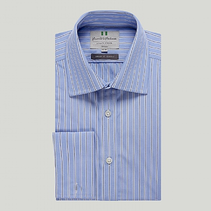 Blue and Navy Stripe Double Cuff Classic Shirt