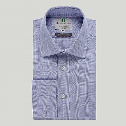 Blue Prince of Wales Double Cuff Classic Shirt